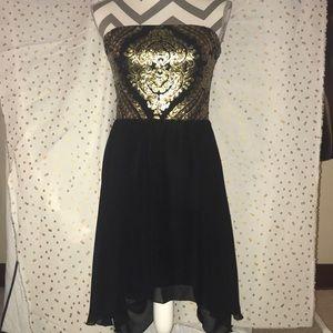 Strapless sequin evening dress